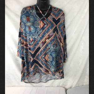 CATO Blue 3/4 Sleeve Top Blouse Size 18/20 W
